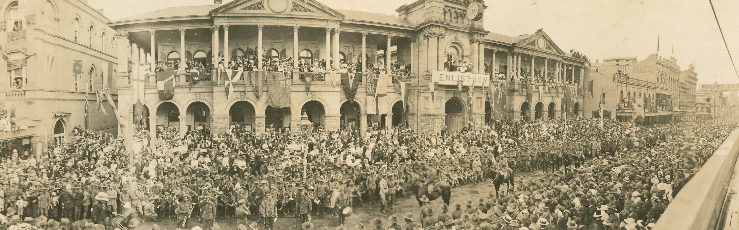 Photograph of Military parade in Brisbane celebrating the first anniversary of ANZAC Day, 1916