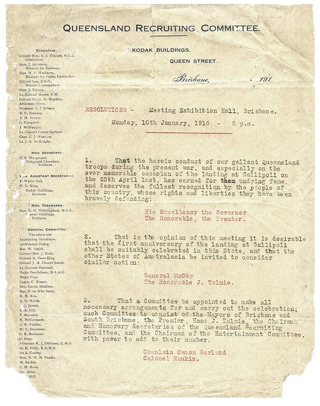 Queensland Recruiting Committee, Meeting resolutions, Monday 10th January, 1916