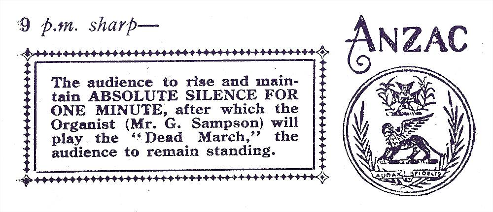 Detail from Anzac Day 25th April, 1916 programme