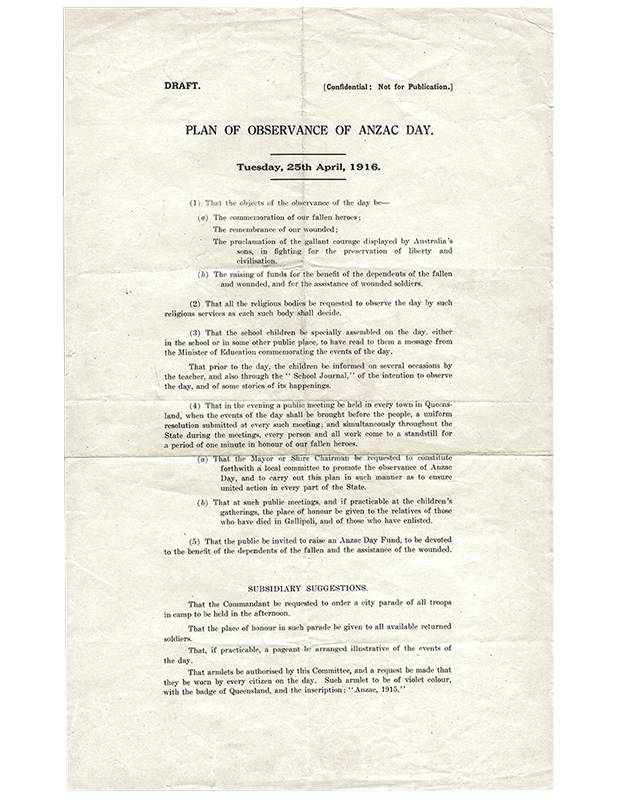 Draft Plan of Observance for the first Anzac Day in 1916