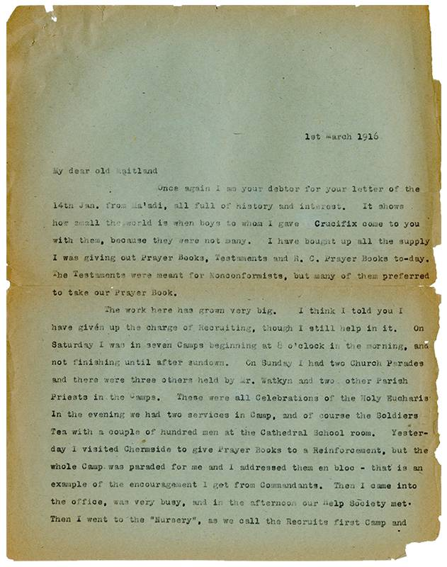 David John Garland, Letter to Reverend William Maitland Woods, 1st March 1916